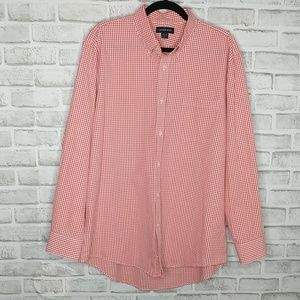 Lands' End Button-Down Shirt Red & White 16.5 - 34